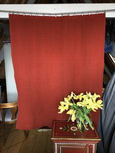 Vintage vibrant burnt-red colour woven wool curtain or table cloth by MarieVintageStore on Etsy Damask Curtains, Red Colour, Vintage Velvet, Vintage Items, Vibrant, Wool, Table, Etsy, Tables