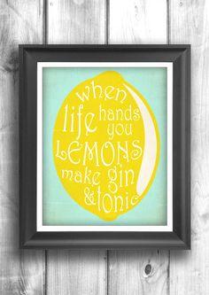 Typography Print Gin and Tonic bar decor por HappyLetterShop, $22.00