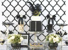 Black, white, silver, quatrefoil dessert table  by mon tresor/couture cupcakes & cookies