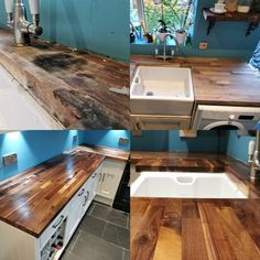 Awful wooden kitchen worktops receive a huge transformation with some sanding and Osmo TopOil Clear Matt 3058. Absolute #KitchenGoals Project by @festoolcraig (IG)