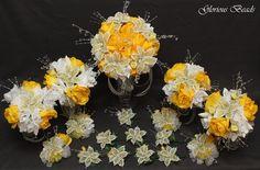 BEADED LILY Bridal Bouquet Wedding Flower 17 Piece Set YELLOW Beads & Silk #GloriousBeadsBeadedFlowers