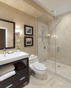Beige tiles in shower