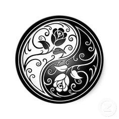 Shop Yin Yang Roses, black Classic Round Sticker created by JeffBartels. Yin Yang Tattoos, Tatuajes Yin Yang, Tribal Tattoos, Maori Tattoos, Guy Tattoos, Turtle Tattoos, Sleeve Tattoos, Mandala Tattoo Design, Tattoo Designs
