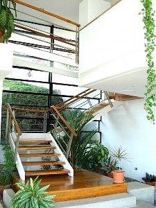 Glass bridge, staircase  interior garden