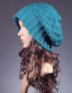 Slouch Beanie Hat,Teal Slouchy Hat,slouchy beanie,Women's Knit Hat,women beanie,knit beanie,Winter Beanie,Winter Hat, Tam Beret, baggy hat,
