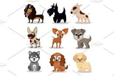 Cute happy dogs. Cartoon funny puppies vector characters collection. Pet Icons