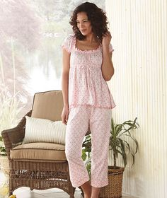Raised waist top and capri pants combine for an irresistibly cute and comfy set of pajamas. Any woman would love the delicate floral print and bow details, while the elastic waist and bust give these PJs the perfect fit. Pyjamas, Sexy Pajamas, Cute Pajamas, Pajamas Women, Night Suit For Women, Pajama Day, Pajama Pants, Cute Lazy Outfits, Lingerie Sleepwear