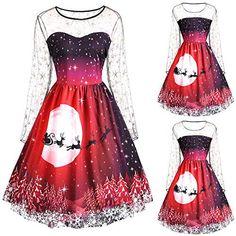 4bc4840ffcb Aberimy-Weihnachtskleid-Damen-Weihnachtselemente-Spitze-Drucken -rmellose-Netzrock-