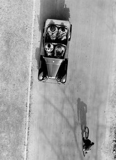 Alex Stöcker, Car and Bicycle in Street from Above, 1920/1930  (many thanks to luzfosca)