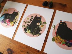 Black Cat series of A5 Prints Black Cat by ilikeCATSshop on Etsy