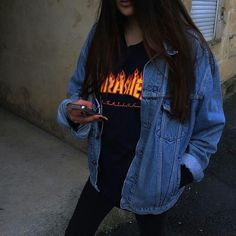 e806b2965f06 Thrasher cut off with high waisted jeans and boots and long jean jacket