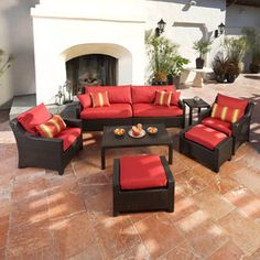 Lowe's RST Outdoor 8-Piece Brown Aluminum Patio Conversation Set with Solid Red Sofa Dimensions (D x W x H)	36 x 96 x 31.5 Coffee Table Dimensions (L x W x H)	46 x 26 x 16 Side Table Dimensions (L x W x H)	20 x 20 x 16 Ottoman Dimensions (L x W x H)	29.5 x 20 x 17 $2749.99 (was $3197)