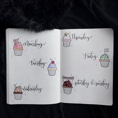 Bullet journal weekly layout, cupcake daily headers, cupcake drawing. | @cardigansandchamomile