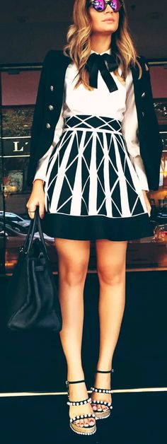 Black and white. Patterned.