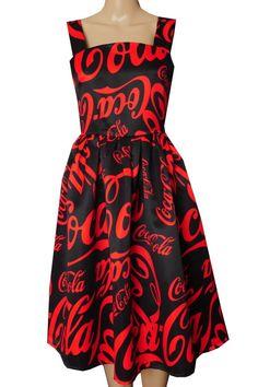 Ponadczasowa rozkloszowana sukienka na ramiączkach w stylu pin-up  Coca-Cola www.dariza.pl Sklep Dariza Stworzona By inspirować