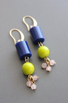 gold plated brass hook earrings with vintage navy acrylic, Czech glass, and dyed jade. African Earrings, Indian Earrings, Bridal Earrings, Beaded Earrings, Earrings Handmade, Beaded Jewelry, Handmade Jewelry, Jewelry For Her, Fine Jewelry