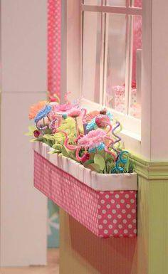 Indoor window box for a girl's room  #HomeandGarden