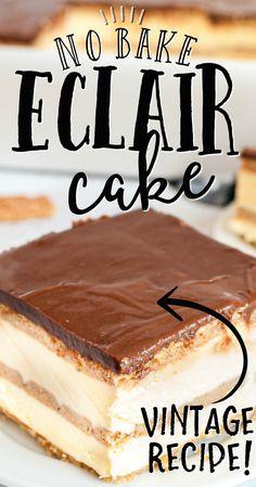 Easy Cake Recipes, Sweet Recipes, Cookie Recipes, Dessert Recipes, No Bake Eclair Cake, Chocolate Eclair Cake, Dessert Simple, Eclairs, Cannoli