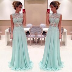 Pretty Light Blue Long Prom Dress With Applique, Sexy Prom Dresses, Prom Dresses