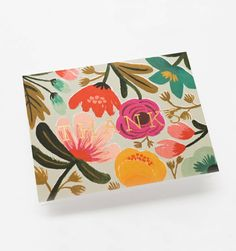 Gold Floral Available as a Single Folded Card or Boxed Set of 8