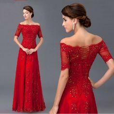 Herrlich Rot Spitze Ballkleider Abendkleider Kurzarm Günstig Gr.36 38 40 42 44