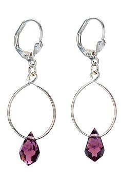 Private Label - Czech Crystal Drop Earrings in Plum