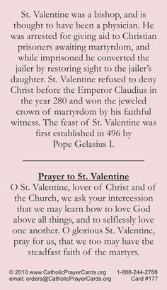St. Valentine's prayer