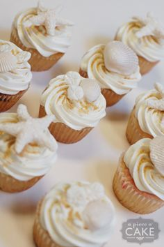 Seashell cupcakes for a beachy themed shower