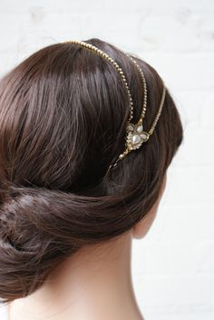 Downton Abbey Wedding headpiece - Crystal Wedding Hair accessory -1920s headpiece -Gold and pearls -UK