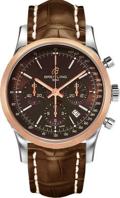 Transocean Chronograph watch by Breitling - two-tone stainless steel and rose gold case, brown dial and chocolate brown leather strap Breitling Superocean Heritage, Breitling Navitimer, Breitling Watches, Best Watches For Men, Fine Watches, Luxury Watches For Men, Cool Watches, Men's Watches, Swiss Army Watches