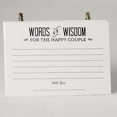 """This listing is for one set of (36) 4""""X3"""" paper cards (printed on 110 lb weight paper) that read """"Words of Wisdom for the Happy Couple"""" on one side and on the other side """"The Secret to a Happy Marriag"""