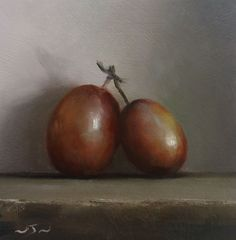 Original Oil Painting -Two Plums - Contemporary Still Life Art - Nelson