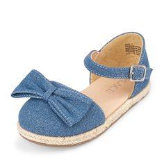 4040b56149cd Toddler Girls Glitter Bow Denim Espadrilles Little Girl Shoes