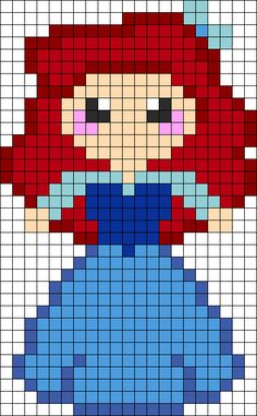 Ariel In Her Blue Dress Perler Bead Pattern | Bead Sprites | Characters Fuse Bead Patterns