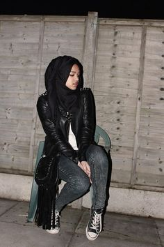 The Quran: Unchallangeable Miracle Muslim Fashion, Modest Fashion, Hijab Fashion, Women's Fashion, Spiked Leather Jacket, Leather Jeans, Black Jacket Outfit, Black Hijab, Casual Hijab Outfit