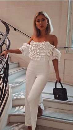 White Outfits For Women, Trendy Outfits, Cool Outfits, Fashion Outfits, All White Party Outfits, Clothes For Women, Womens Fashion, Elegant Wedding Dress, Elegant Dresses