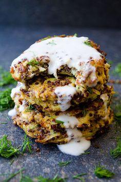 Feta Quinoa Zucchini Fritters #quinoa #zucchini #vegetarian