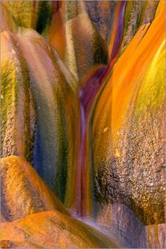 Fly Geyser rock stained with different colors. Black Rock Desert, Nevada.