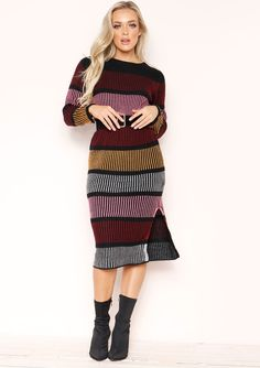 eecb128e3 Missyempire - Macy Multi Stripe Knit Midi Jumper Dress Jumper Dress