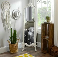 Brighten your home with our Distressed White Morgan Cheval Mirror! This mirror has a distressed finish and ornate design that make it a one-of-a-kind vintage find! White Full Length Mirrors, Full Length Floor Mirror, White Mirror, Cheval Mirror, Mirrors For Sale, Modern Farmhouse Decor, Bedroom Styles, Bedroom Ideas, Bedroom Decor
