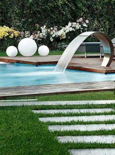 Cool Pool Fountain Piscine Diy Modern Backyard Water Features Garden