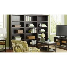 Target Threshold Carson bookshelves (line a wall with the tall bookshelves and use the short/long bookshelf for TV console)
