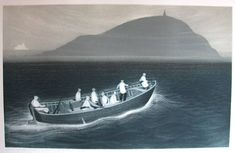 Wesleyville, Seabird Hunters Crossing the Reach By David Blackwood Artist Painting, Painting Prints, Canada Images, Film Inspiration, Coastal Art, Black And White Drawing, Spring Art, Sea Birds, Canadian Artists