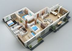 4 bedroom 3D floor plan with balcony
