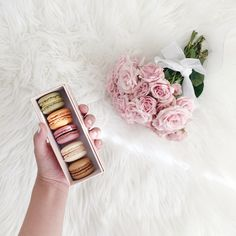 macarons + roses (via @thepinkdiary)