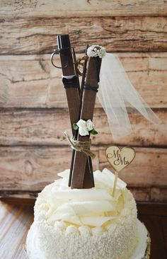 Ski wedding cake topper skis winter themed bride and groom cake topper rustic skis sled sleigh lodge ivory veil Mr and Mrs sign bouquet