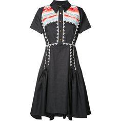 Peter Pilotto Navajo shirt dress (4.826.740 COP) ❤ liked on Polyvore featuring dresses, blue, collar dress, blue dress, blue collared dress, short sleeve dress and a line shirt dress