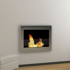 Anywhere Fireplaces SoHo Wall Mount Bio-Ethanol Fireplace Finish: Stainless Steel Biofuel Fireplace, Bioethanol Fireplace, Soho, Gel Fireplace, Fireplace Ideas, Bathroom Fireplace, Bio Ethanol, Steel Wall, Electric Fireplace