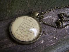 Nurse Necklace-- Vintage Dictionary Print Handmade Cabochon Necklace--Nursing Gift by ChloesWindow on Etsy