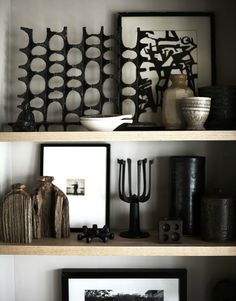 David Prince {black and white rustic mid-century vintage scandinavian modern shelving} by recent settlers, via Flickr